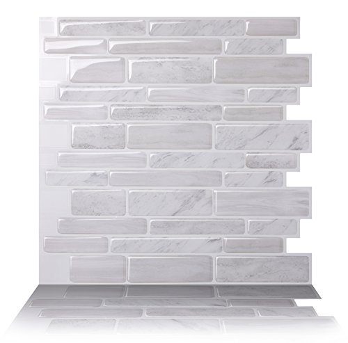 - Tic Tac Tiles Anti-Mold Peel and Stick Wall Tile in Polito White (10 Tiles)