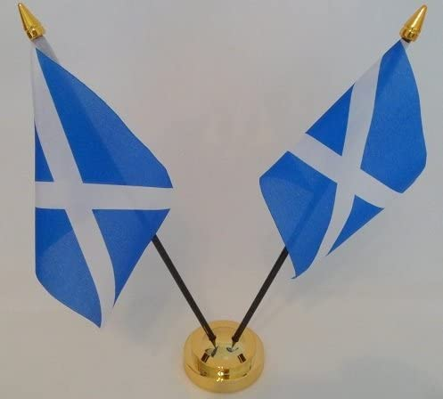 Schottland St Andrews Kreuz Saltire Scottish 2/ Flagge Desktop Tisch Mittelpunkt Display mit Gold Boden