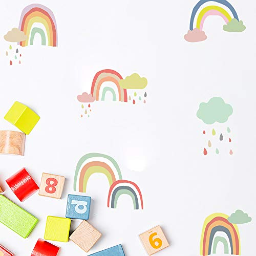Wall Sticker Decal, Removable Colorful Rainbow Wallpaper for Kid's Room/Bedroom/Living Room, PVC Vinyl Waterproof