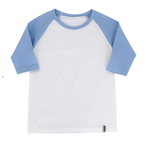 (BesserBay Child Raglan Plain DIY Crew Neck Funny Half T Shirts 3/4 Sleeves School Uniforms Baby Tees, 1# Light Blue/White, 7-8 Years)