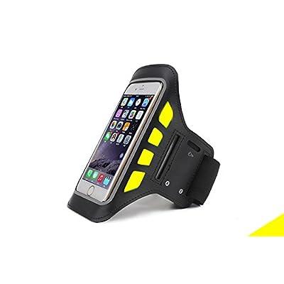 étanche fonctionnant LED Clignotant Brassard Sangle de poignet pour sports de plein air de sécurité Nuit d'activité pour téléphones 12,7cm–Noir/Jaune
