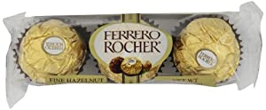 Ferrero Rocher 3 Piece Chocolates, Fine Hazelnut, 1.3 Ounce (Pack of 24)