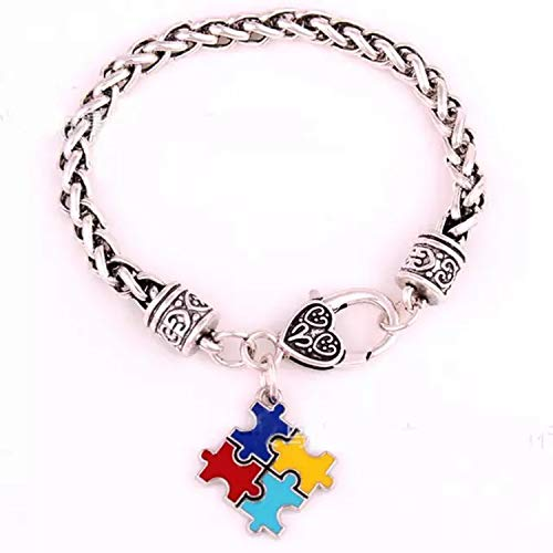 HOUBL Autism Awareness Puzzle Jigsaw Classic Silver Plated Fashion Square Enamel Charm Bracelet Jewelry B238,Puzzle