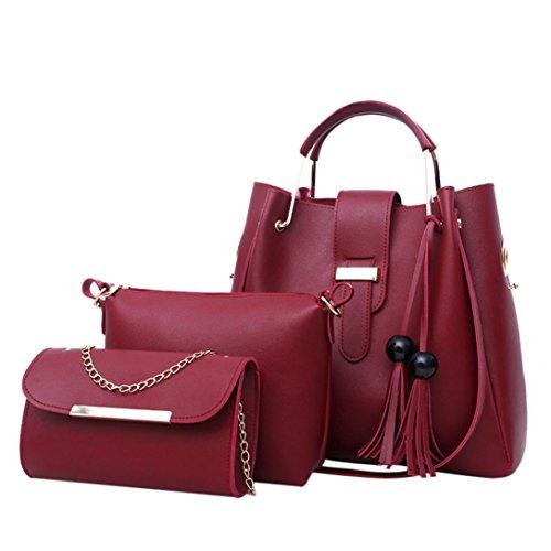 Handtasche Damen Set LHWY 3Pcs Fashion Pu Leder Quaste Umhängetasche Crossbody Metall Kette Tasche Handtasche für Frauen Mädchen Mutter Geschenke Wine t3ztpuAf7