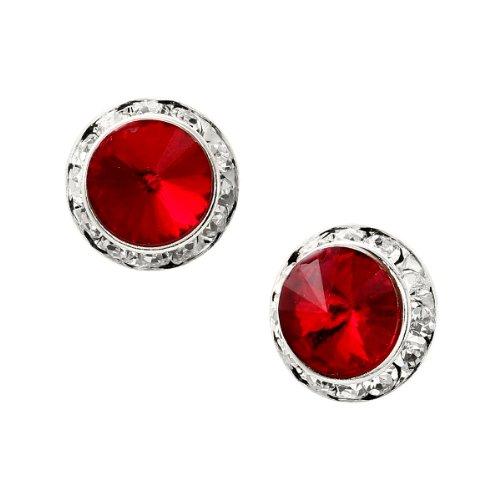 Silver Plating Element Siam Rhinestone 15mm Rondelle Circle Round Shape Stud Earring -