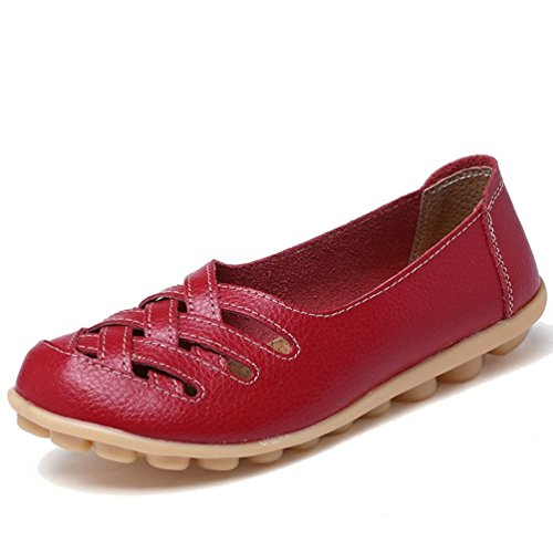 Lazutom Women Lady Vintage PU Leather Casual Cut out Loafers Flat Slip-on Shoes Red