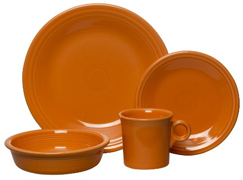 Place Setting Set (Fiesta 4-Piece Place Setting, Tangerine)