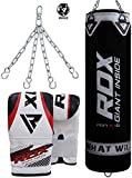 RDX Punching Bag UNFILLED Set Kick Boxing Heavy MMA Training with Gloves Punching Mitts Hanging Chain Muay Thai Martial Arts 4FT 5FT
