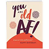 Humorous Old AF Birthday Greeting Card with Envelope (Large 8.5 x 11 Inch) - Personalized Adult Humor Notecard for Women, Men - Big, Funny Bday Giftcard Stationery J6398BDG