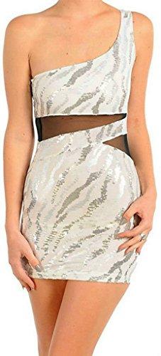 Dress One Shoulder Sequin Animal Zebra Mesh See Thru Sexy Club Silver Gray (S, White/Silver)