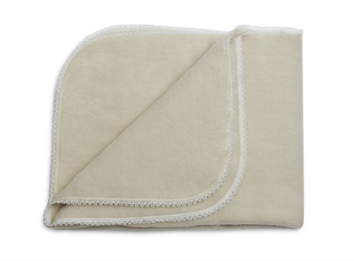 LANACare Organic Merino Wool Baby Blanket, Natural White with Lace Edge ()