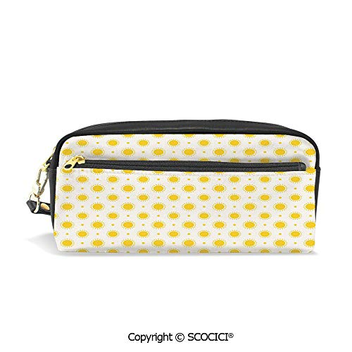 - Girls Boys 3D Printed PU Pencil Case Holders Bag with Zipper Sun Motif Colorful Polka Dots Summer Themed Heavenly Bodies Celestial Elements Stationery Makeup Cosmetic Bags Back to School