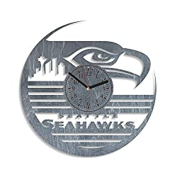 Seattle Seahawks Wall Clock 12 Inch Seattle Seahawks Wooden Wall Clock Large American Football Team Sport Art Personalized Gift For Him Seattle Seahawks Party Decorations Unique Gift (Black)