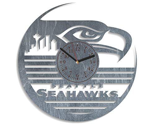 Football Wall 12 Inch Clock - Seattle Seahawks Wall Clock 12 Inch Seattle Seahawks Wooden Wall Clock Large American Football Team Sport Art Personalized Gift For Him Seattle Seahawks Party Decorations Unique Gift (Black)