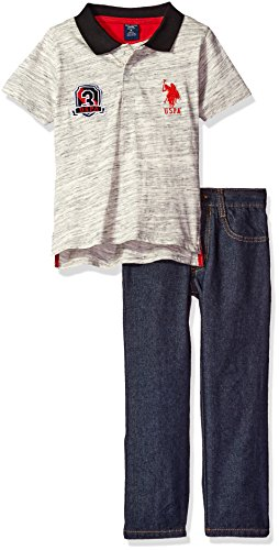 U.S. Polo Assn. Little Boys' Toddler Space Dyed Jersey Shirt and Denim Jean, Red, 4T Jean 2t 4t Sets