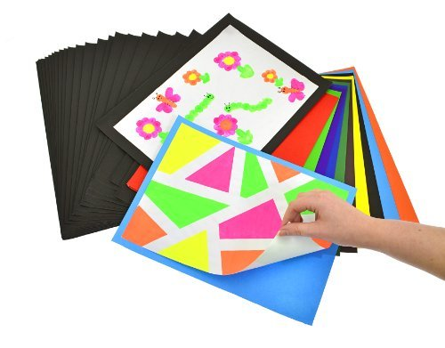 A4 and A3 Mounting Paper Sheets for displaying children's art work and other wonderful creations. 100 in pack of either mixed bright colours or in just Black. A4 packs are mixed with 60 coloured and Black paper sheets. Make life easy when displaying work
