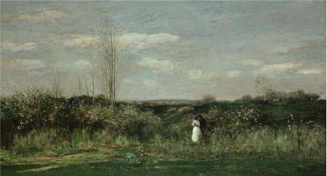 Oil Painting 'Charles-Francois Daubigny-Spring Landscape,1862' Printing On Perfect Effect Canvas , 20x37 Inch / 51x94 Cm ,the Best Garage Gallery Art And Home Decoration And Gifts Is This Reproductions Art Decorative Canvas Prints (Spring Step Allegra)