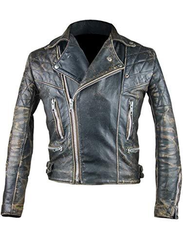 UGFashions Mens Antique Retro 2 Biker Cafe Racer Vintage Distressed Black Rugged Leather Motorcycle Jacket
