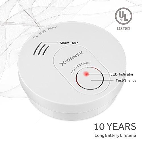 X-Sense SD10 X 10-Year Battery Smoke Detector Fire Alarm with Photoelectric Sensor (5-Pack) by X-Sense (Image #2)