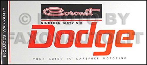 1966 Dodge Coronet Owner's Manual Reprint