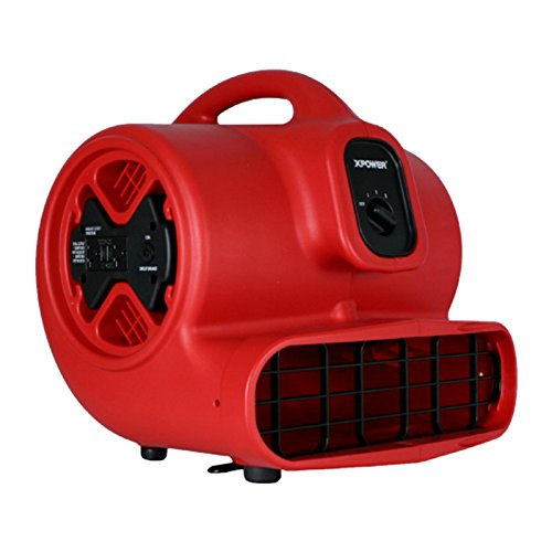 XPOWER X-600A 1/3 HP 2400 CFM 3 Speed Air Mover with GFCI Outlets for Daisy Chain, 3.8-Amp (Blower Speed 3 Single)