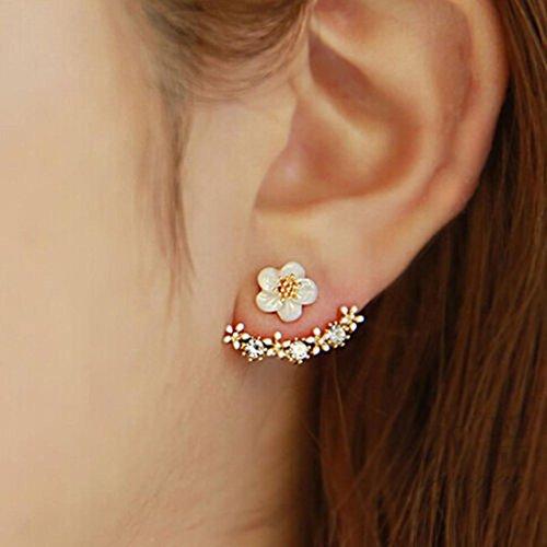 Hemlock Flower Crystal Ear Stud, Women Girl's Flower Earrings Bohemia Earrings Jewelry Earrings (Gold)