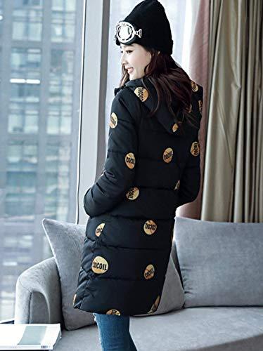 Zipper Ladies Fantasia Cappotti Trendy Con Warm Frontali Coulisse Down Stampato Parka Cappuccio Tasche Coat Saoye Schwarz Fashion Long Winter twZqw7a6