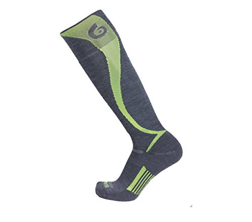 Point6 Ski/Carve Light OTC Sock - Gray/Bright Lime Medium (Point6 Ski)
