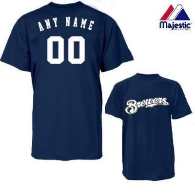 Milwaukee Brewers Personalized Custom (Add Name & Number) YOUTH LARGE 100% Cotton T-Shirt Replica Major League Baseball Jersey
