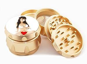 "Asian Girl Design Premium Grade Aluminum Tobacco,Herb Grinder -4Pcs Large (2.5"" Gold) # GLD-G121114-0001"