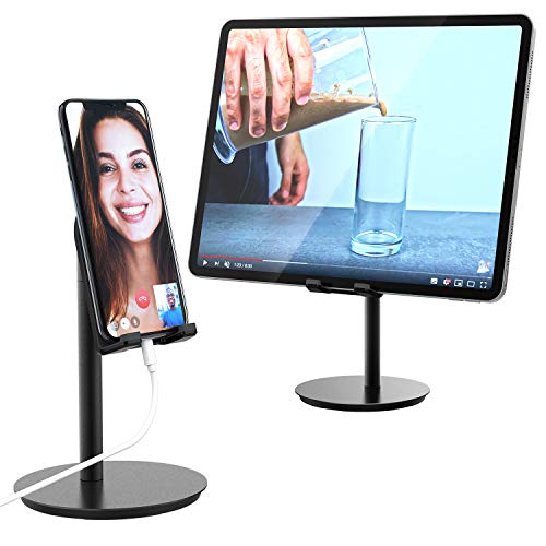 MiiKARE Cell Phone/Tablet Stand, Universal Multi-Angle Adjustable Phone Holder Aluminium Desktop Holder Dock Cradle Compatible with iPhone Xs XR 8Plus Galaxy S10 S9 S8, Tablet, E-Reader(Up to 10.5)