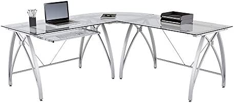 Realspace Vista Glass 76″W L-Shaped Desk