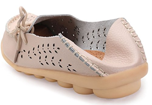 Shoes Beige Leather on 02 Labato Moccasin Flats Loafers Women's Casual Driving Slip Cxw6Azqvx