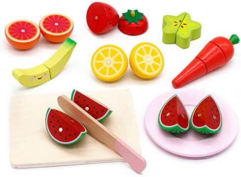 Wooden Pretend Play Magnetic Connected Fruit Banana Kids Cutting Food Toy