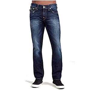 True Religion Men's Slim Straight Jean with Flap Back Pockets