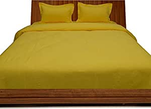 Brightlinen Yellow King (150 X 200 Cm) Duvet Set Fitted Sheet Solid(pocket Size: 30 Cm) 4pcs