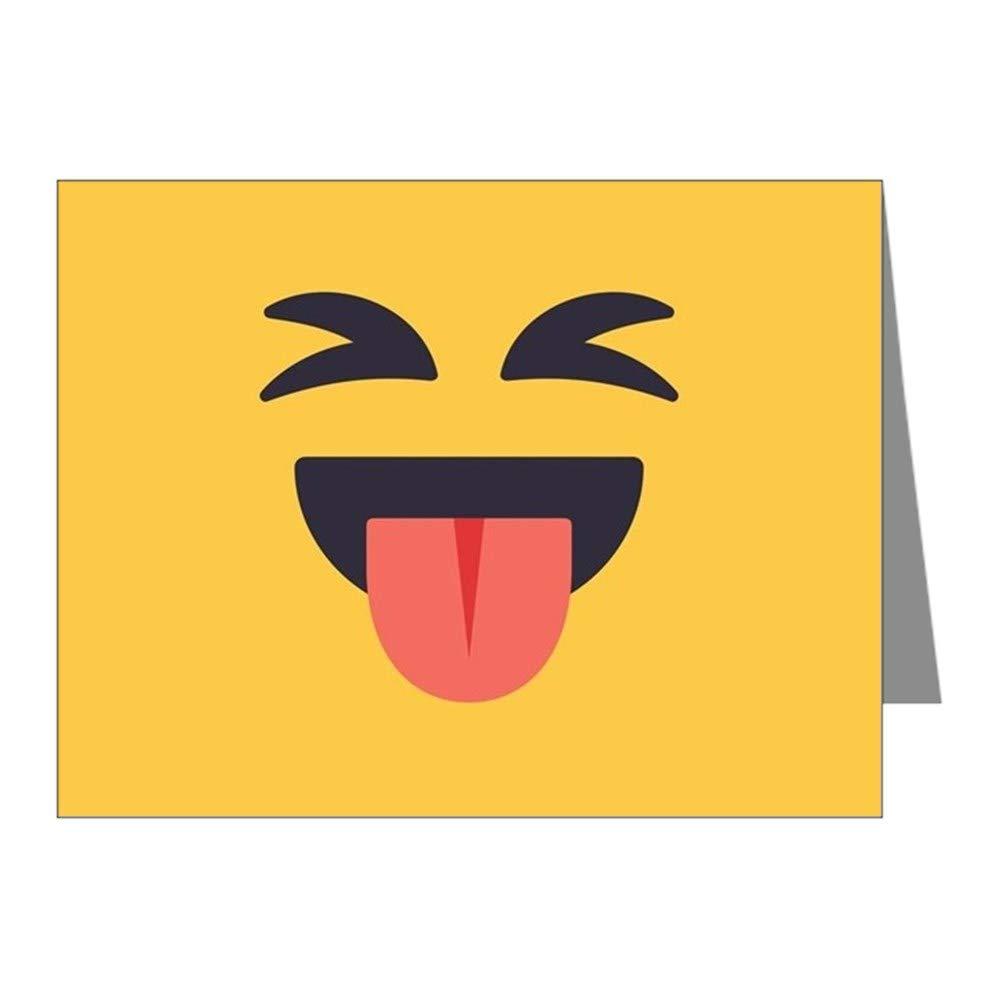 CafePress Closed Eyes Tongue Emoji Fac Blank Note Cards (Pack of 20) Matte