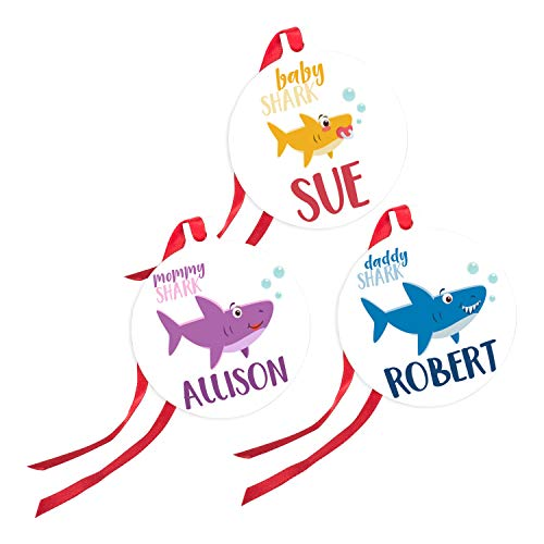 Personalized Christmas Ornaments Gifts with Ribbon - Shark Family with Your Name or Text- Baby Shark, Daddy Shark, Mommy Shark, Grandma Shark, Birthday Gifts - Family Shark Set of 3 (Ornament Name)