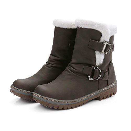 Martin Logobeing Hebilla Botas Mujer Casual Planos De Botines Marrón Zapatos Clásicos Plataforma Bootie Tacon Short Calzado Nieve Piel Calientes rvB6rq