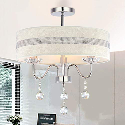 (Zr E27 Crystal Glass Chandelier Beautiful Cloth lampshade Decoration Living Room Bedroom Restaurant Hotel Coffee Ceiling Light, 15.7 inches × 20.8 inches)