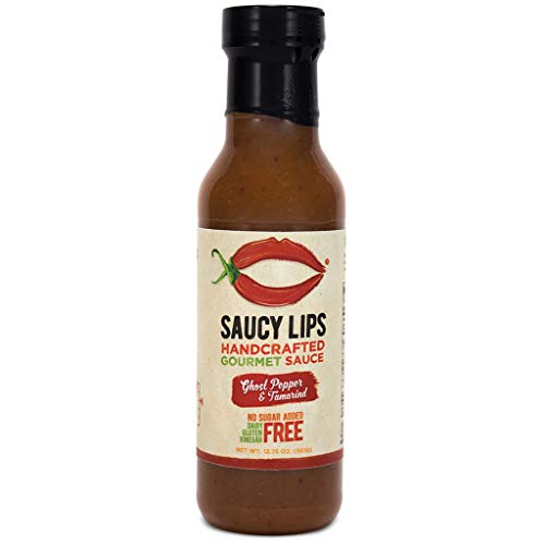 (Saucy Lips, Ghost Pepper, keto/paleo/vegan salad dressing, marinade, cooking sauce, sugar free dressing, low carb sauce, low sodium, soy/dairy/nut/gluten free, 12 oz (1 pack))