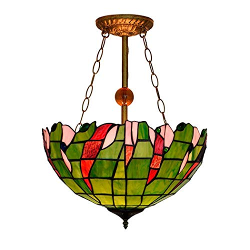 Tiffany Style Pendant Lamp, Rural Green Stained Glass Lampshade Pendant Light, 15.7'' Inverted Ceiling Hanging Light Fixture for Dining Room, Living Room