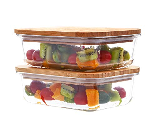 ([2-Pack, 36 Oz.] Glass Meal Prep Containers with Sustainable Bamboo Locking Lids- Plastic Free Bento Box Containers Glass Food Storage Containers with Lids Lunch Containers)