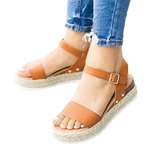 58e8c75d48c Syktkmx Womens Platform Wedge Sandals Open Toe Cork Low Heel Ankle Strap  Summer Espadrilles