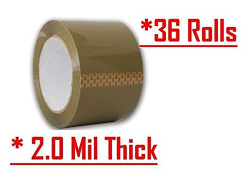 Oimage 36 Rolls Ultra Tan Brown 2.0 MIL Tape 2'' X 110 Yards (330' ft) Heavy Duty Carton Packing Packaging Sealing Tape