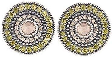Pendientes de plata tipo boton con circonita verde, champany y cuarzo rosa