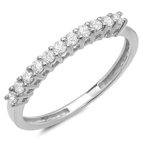 0.28 Carat (ctw) 14K Gold Round White Diamond Ladies Anniversary Stackable Wedding Band 1/4 CT