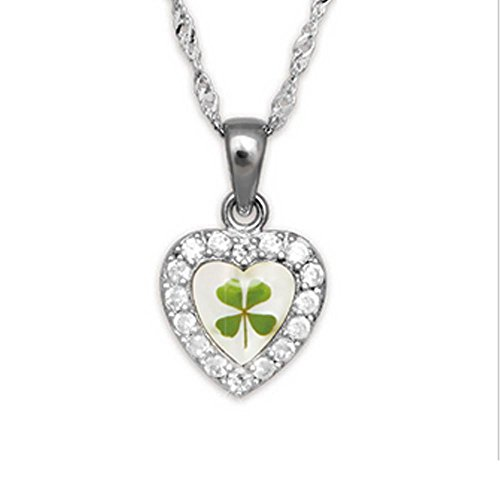 Stainless Steel Real Irish Four Leaf Clover Heart Shaped Pendant Necklace, 16-18 (Heart Clover Necklace)