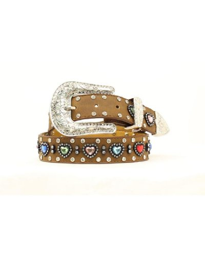 Nocona Girl's Multi Color Heart Conchos Belt, Medium Brown Distressed, 24 (Cowgirl Concho Belt)