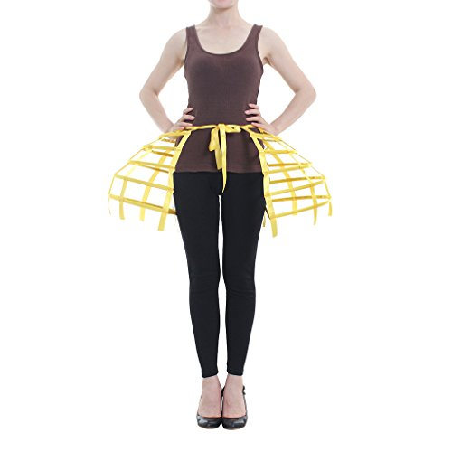 DUNHAO COS Women's Double Victorian Pannier Bustle Cage Underskirt (Short Yellow)